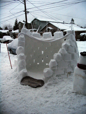 Front door of the snow fort